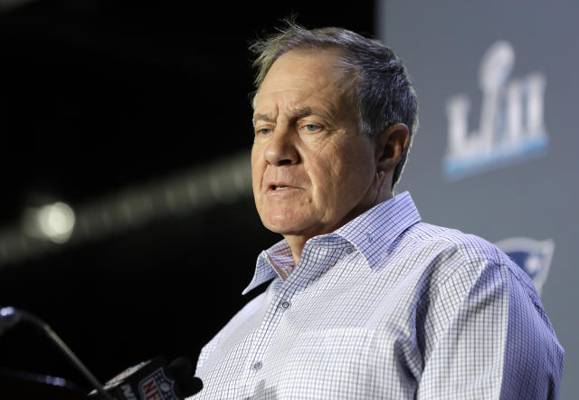 New England Patriots head coach Bill Belichick answers questions during a news conference Tuesday. (AP)