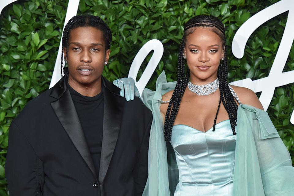LONDON, ENGLAND - DECEMBER 02: ASAP Rocky and Singer Rihanna arrives at The Fashion Awards 2019 held at Royal Albert Hall on December 02, 2019 in London, England. (Photo by Stephane Cardinale - Corbis/Corbis via Getty Images)