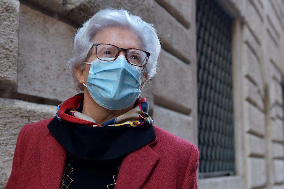 ROME, ITALY - JANUARY 19:Senator Paola Binetti near the Senate, on January 19, 2021 in Rome, Italy. Following the resignation of two ministers in Conte's coalition government over a dispute on spending of EU funds during the pandemic, the Italian government is on the verge of another crisis. (Photo by Simona Granati - Corbis/Getty Images) (Photo: Simona Granati - Corbis via Getty Images)
