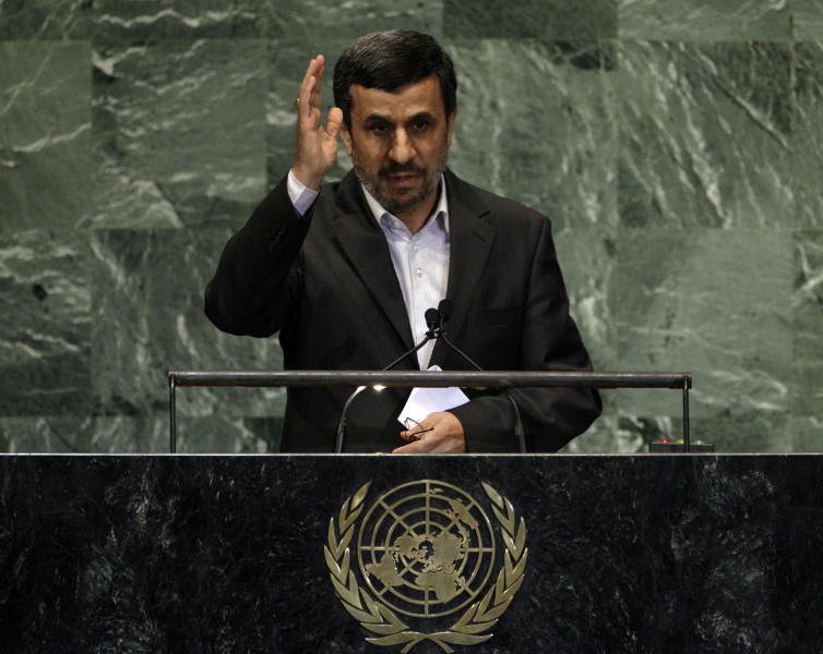 Iran's President Mahmoud Ahmadinejad concludes his address to the high level meeting on rule of law in the United Nations General Assembly at U.N. headquarters Monday, Sept. 24, 2012. (AP Photo/Richard Drew)