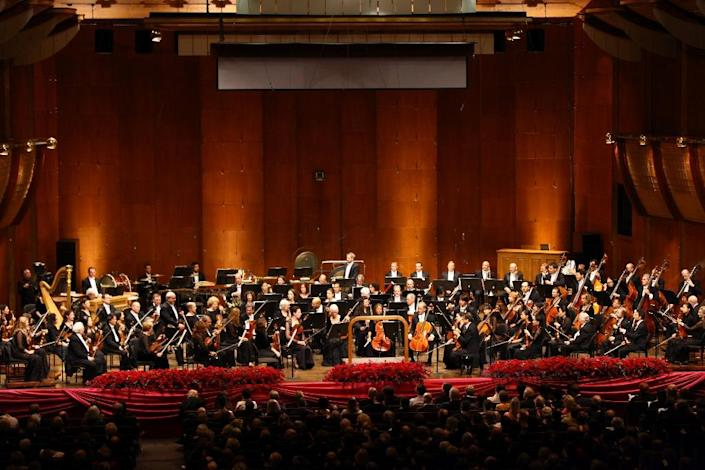 The New York Philharmonic Orchestra during the Opening Night Gala of New York Philharmonic at the Lincoln Center for the Performing Arts (AFP Photo/Neilson Barnard)