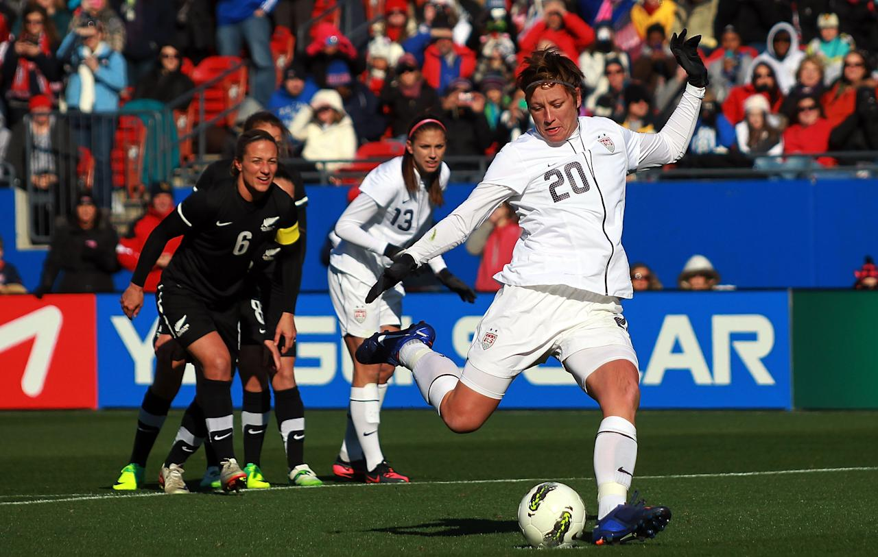 FRISCO, TX - FEBRUARY 11:  Abby Wambach #20 of USA takes a penalty shot against New Zealnad at FC Dallas Stadium on February 11, 2012 in Frisco, Texas.  (Photo by Ronald Martinez/Getty Images)