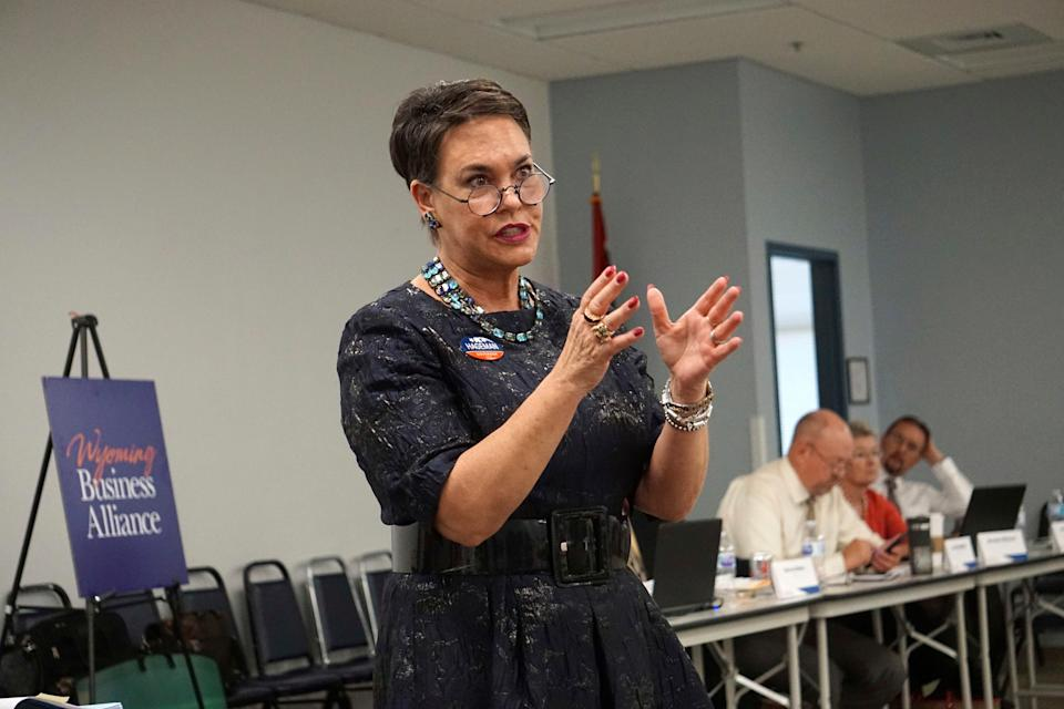 Harriet Hageman addresses a meeting of the Wyoming Business Alliance in Casper, Wyo., in 2018.  Former President Donald Trump has endorsed Hageman in his bid to unseat Rep. Liz Cheney, one of his most vocal critics.