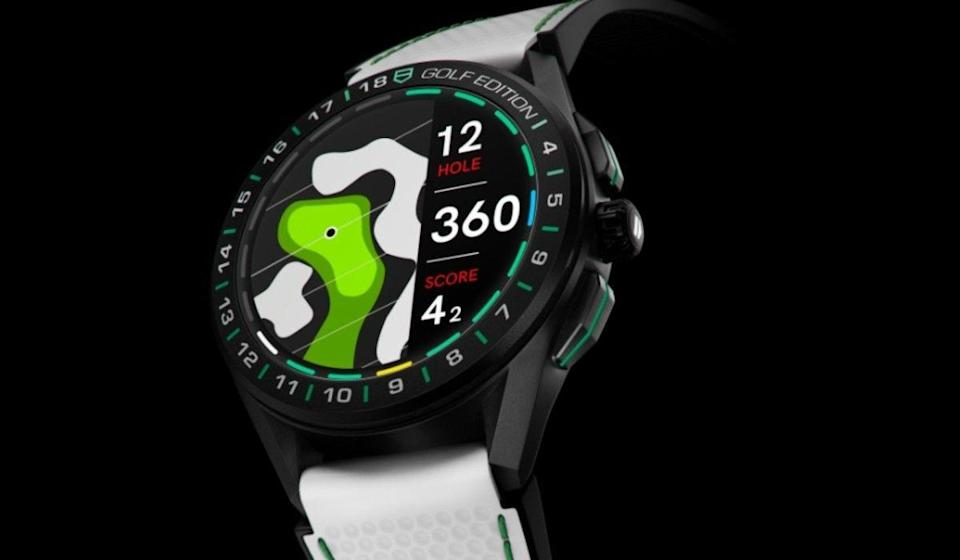 """<p><a class=""""link rapid-noclick-resp"""" href=""""https://www.tagheuer.com/gb/en/smartwatches/collections/tag-heuer-connected/45-mm/SBG8A82.EB0206.html"""" rel=""""nofollow noopener"""" target=""""_blank"""" data-ylk=""""slk:SHOP"""">SHOP</a></p><p>A special edition of Tag's luxury smartwatch with a bunch of bespoke functions added to appeal to dedicated golfers. By pairing with a phone this model allows you to track your performance on more than 40,000 courses around the world. Full-colour 2D maps appear on the bright, bold screen – with lines showing you the distance and reach on the course in hand. The touchscreen is fully scrollable, even in gloves. The sporty vibe is mirrored in the design, with novel green stitching on the straps, new faces and even branded balls and tees thrown into the package. </p><p>£2,100; <a href=""""https://www.tagheuer.com/gb/en/smartwatches/collections/tag-heuer-connected/45-mm/SBG8A82.EB0206.html"""" rel=""""nofollow noopener"""" target=""""_blank"""" data-ylk=""""slk:tagheuer.com"""" class=""""link rapid-noclick-resp"""">tagheuer.com</a></p>"""