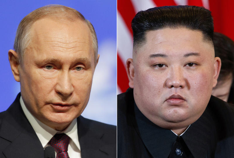 FILE - This combination file photo, shows Russian President Vladimir Putin, left, in St. Petersburg, Russia, April 9, 2019, and North Korean leader Kim Jong Un in Hanoi, Vietnam, on Feb. 28, 2019. When Kim meets with Putin for their first one-on-one meeting, he will have a long wish list and a strong desire to notch a win after the failure of his second summit with U.S. President Donald Trump in February 2019. (AP Photo/Dmitri Lovetsky, Evan Vucci, File)