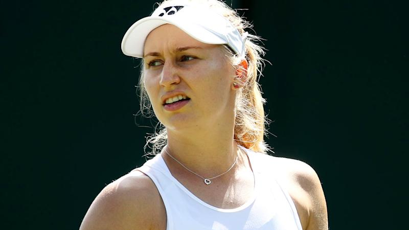 Daria Gavrilova looks on during her loss. (Photo by Alex Pantling/Getty Images)