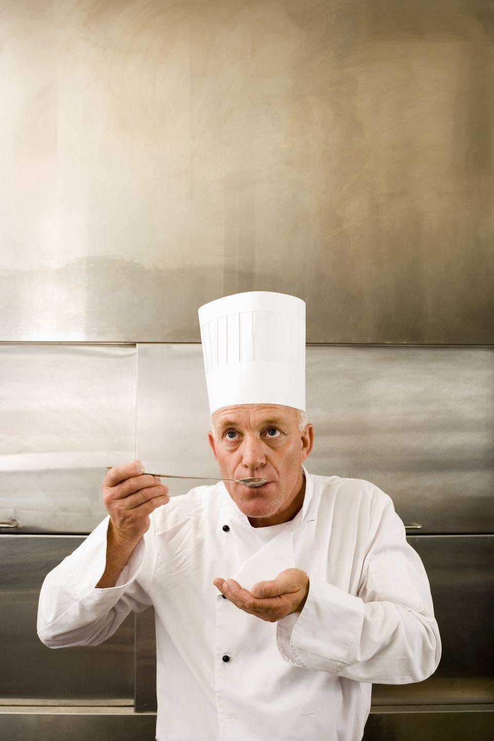 "<p>Yes, that tall, pleated white hat that chefs wear — technically called a <em>toque — </em>has 100 folds for a reason! According to <a href=""https://www.reluctantgourmet.com/chef-hat-history/#context/api/listings/prefilter"" rel=""nofollow noopener"" target=""_blank"" data-ylk=""slk:Reclutant Gourmet"" class=""link rapid-noclick-resp"">Reclutant Gourmet</a>, the pleats used to signify a chef's level of experience, like the number of ways he or she knew how to prepare eggs. </p><p><strong>RELATED: </strong><a href=""https://www.goodhousekeeping.com/food-recipes/easy/g428/easy-egg-recipes/"" rel=""nofollow noopener"" target=""_blank"" data-ylk=""slk:45+ Easy Egg Recipes for Your Best Brunch Ever"" class=""link rapid-noclick-resp"">45+ Easy Egg Recipes for Your Best Brunch Ever</a><br></p>"