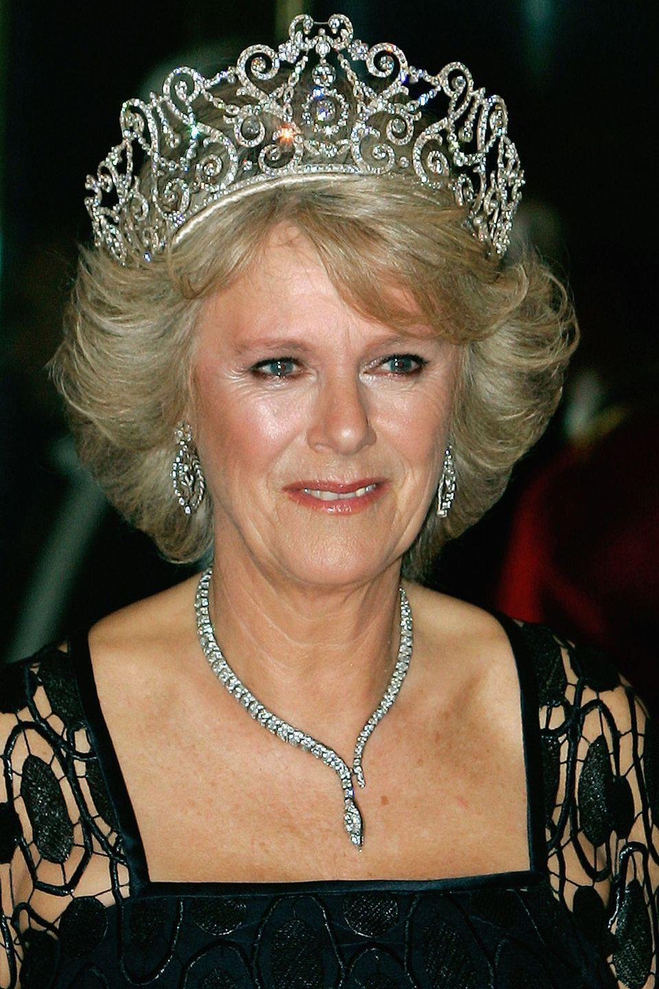 <p>The Delhi Durbar tiara is one of three on loan from the Queen to her daughter-in-law Camilla, Duchess of Cornwall. Made by Garrard, it was originally made for Queen Mary in 1911 for a celebration in Delhi to mark the coronation of King George V and Queen Mary as Emperor and Empress of India.</p>