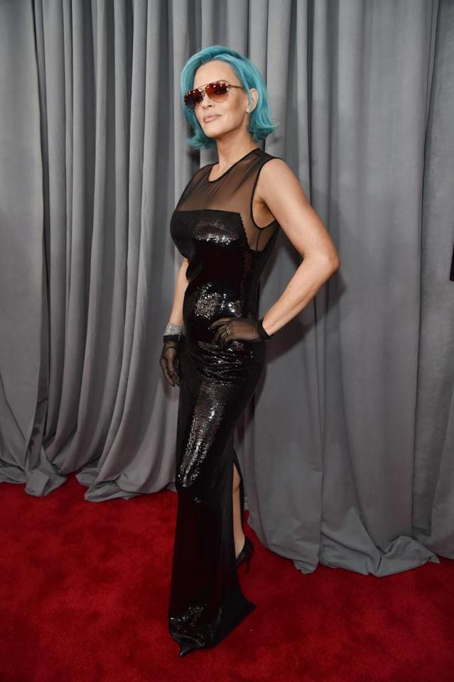 <p>Jenny McCarthy sported a blue 'do at the 60th annual Grammy Awards at Madison Square Garden in New York on Jan. 28, 2018. (Photo: John Shearer/Getty Images) </p>