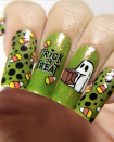 """<p>Halloween is a time to break out those colors you might not normally wear—like this glittery slime green that <a href=""""https://www.instagram.com/p/B4K9pjMA6rU/"""" rel=""""nofollow noopener"""" target=""""_blank"""" data-ylk=""""slk:nail artist Marilynn"""" class=""""link rapid-noclick-resp"""">nail artist Marilynn</a> uses as the base for her decorated trick-or-treat nails.</p><p><a class=""""link rapid-noclick-resp"""" href=""""https://go.redirectingat.com?id=74968X1596630&url=https%3A%2F%2Fwww.ulta.com%2Fnail-lacquer-with-hardeners%3FproductId%3DVP12102&sref=https%3A%2F%2Fwww.oprahdaily.com%2Fbeauty%2Fskin-makeup%2Fg33239588%2Fhalloween-nail-ideas%2F"""" rel=""""nofollow noopener"""" target=""""_blank"""" data-ylk=""""slk:SHOP GLITTER POLISH"""">SHOP GLITTER POLISH</a></p>"""