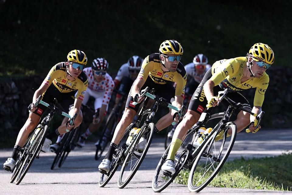 Team Jumbo rider Slovenias Primoz Roglic wearing the overall leaders yellow jersey R and Team Jumbo rider Netherlands Tom Dumoulin 2ndR ride during the 18th stage of the 107th edition of the Tour de France cycling race 168 km between Meribel and La Roche sur Foron on September 17 2020 Photo by KENZO TRIBOUILLARD  AFP Photo by KENZO TRIBOUILLARDAFP via Getty Images