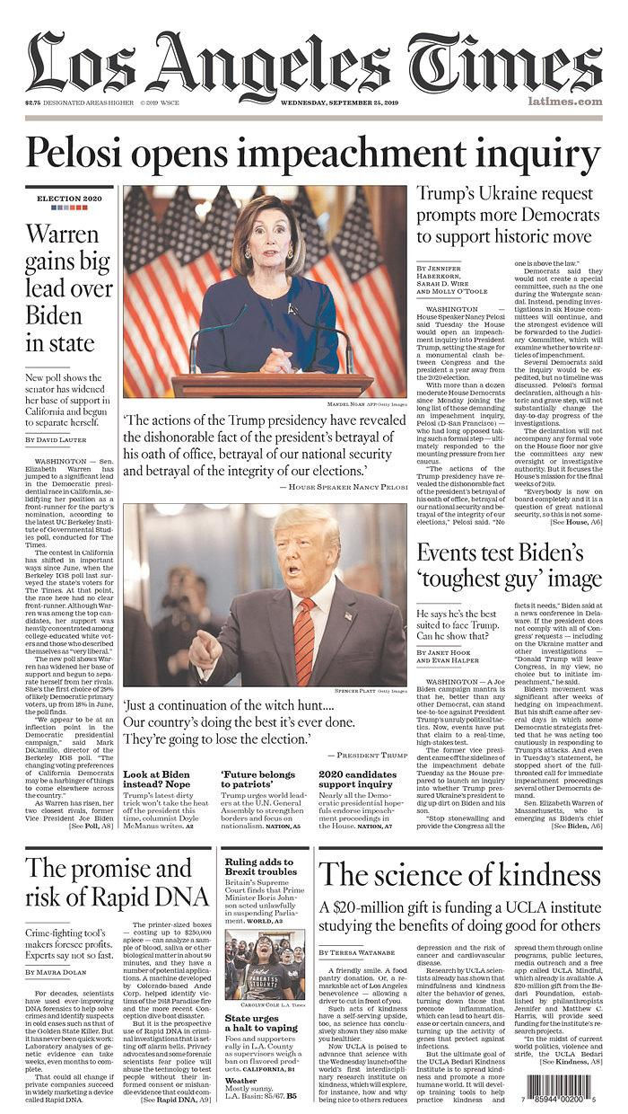 Pelosi opens impeachment inquiry Los Angeles Times Published in Los Angeles, Calif. USA. (newseum.org)