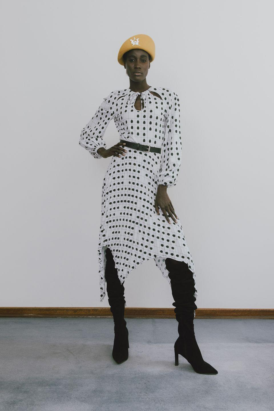 "<p>If Thebe Magugu's spring 2021 Counter Intelligence lineup, which oscillated between sharp, tailored pieces and fluid dresses, seemed to have multiple style personalities, well, that's because it did. ""Our immediate picture of spies is largely informed by their portrayal in popular culture—slim, ostentatiously demure, fashionable and aloof,"" said the Johannesburg-based designer and 2019 LVMH Prize winner. ""Truth is, spies are all around us, they are our beloved teachers, friends, and family members."" Magugu's collection is an ongoing exploration of the <a href=""https://www.harpersbazaar.com/fashion/designers/a34058383/thebe-magugu-website-launch/"" rel=""nofollow noopener"" target=""_blank"" data-ylk=""slk:traditions, culture, and racial dynamics"" class=""link rapid-noclick-resp"">traditions, culture, and racial dynamics</a> of South Africa, and this season took its cues from a series of interviews he conducted with former spies who worked with the country's old apartheid government. Prints featured authentic documentation including a mug shot on a cotton blouse and a trompe l'oeil polka-dot pattern on a handkerchief-hem dress that was made from fingerprints. <em>—Alison S. Cohn</em></p>"