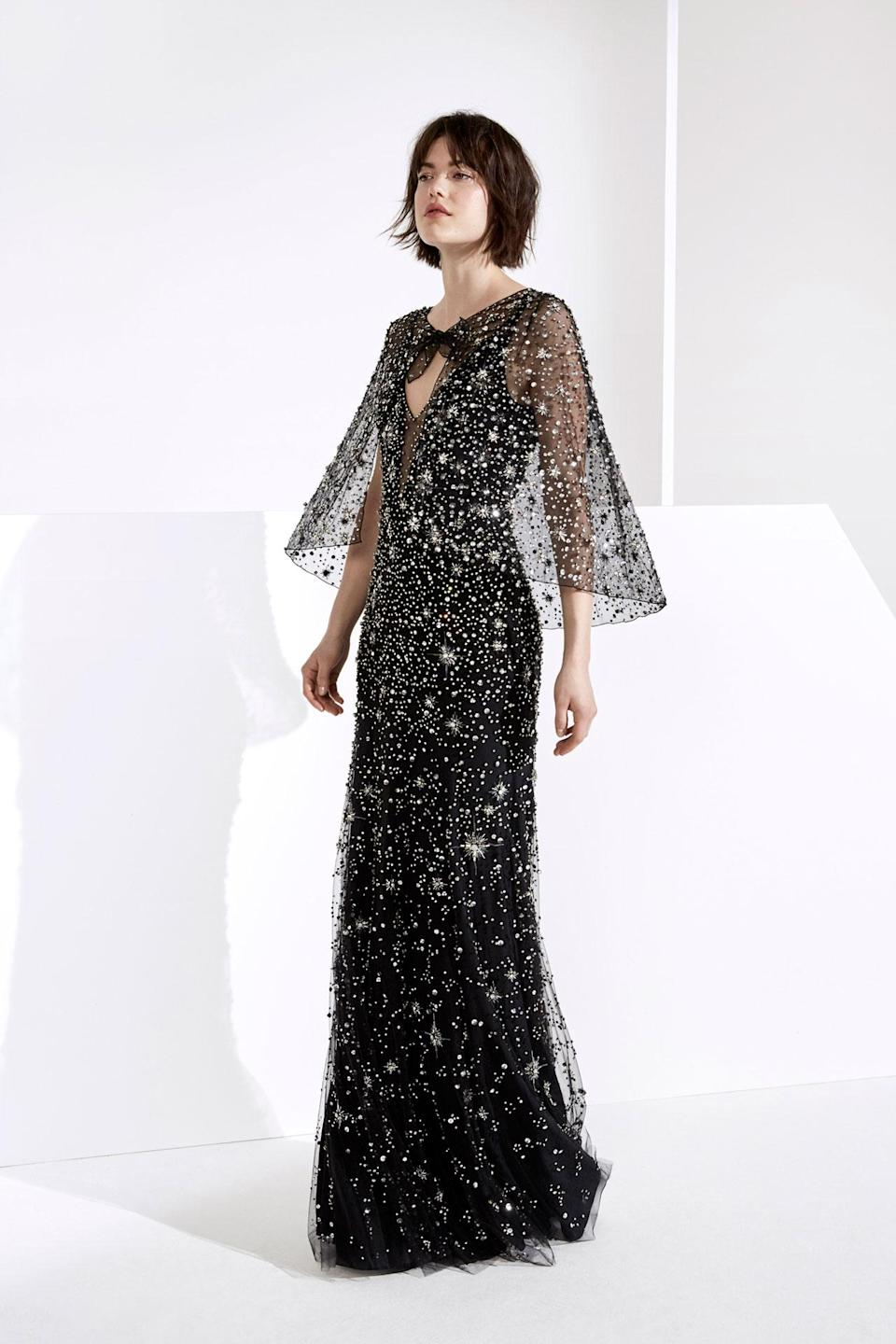 <p>A black celestial cape dress from the Jenny Packham FW18 collection. (Photo:Courtesy of Jenny Packham) </p>