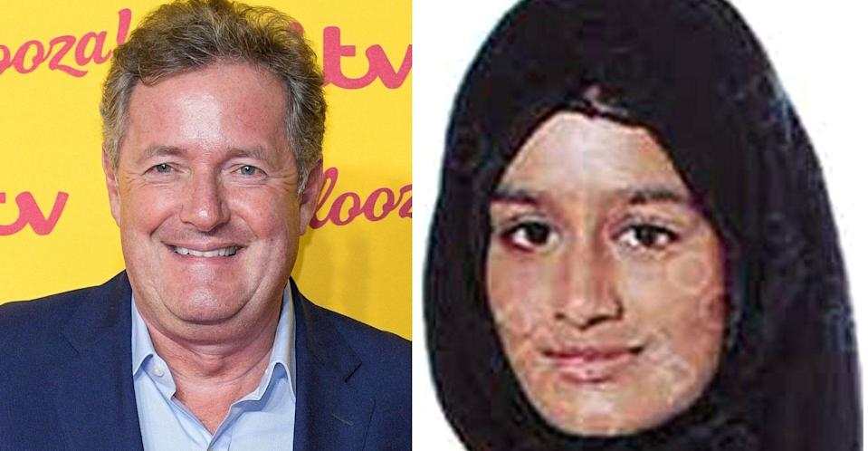 Piers Morgan says he has no sympathy for Shamima Begum. (PA/Getty Images)