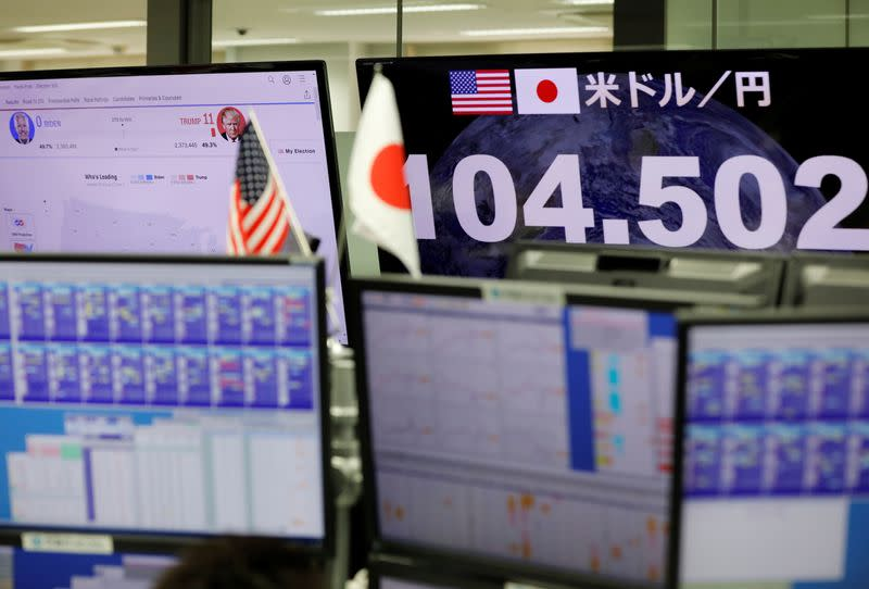 Monitors show a news about U.S. Presidential election and the Japanese yen's exchange rate against the U.S. dollar at a foreign exchange trading company in Tokyo