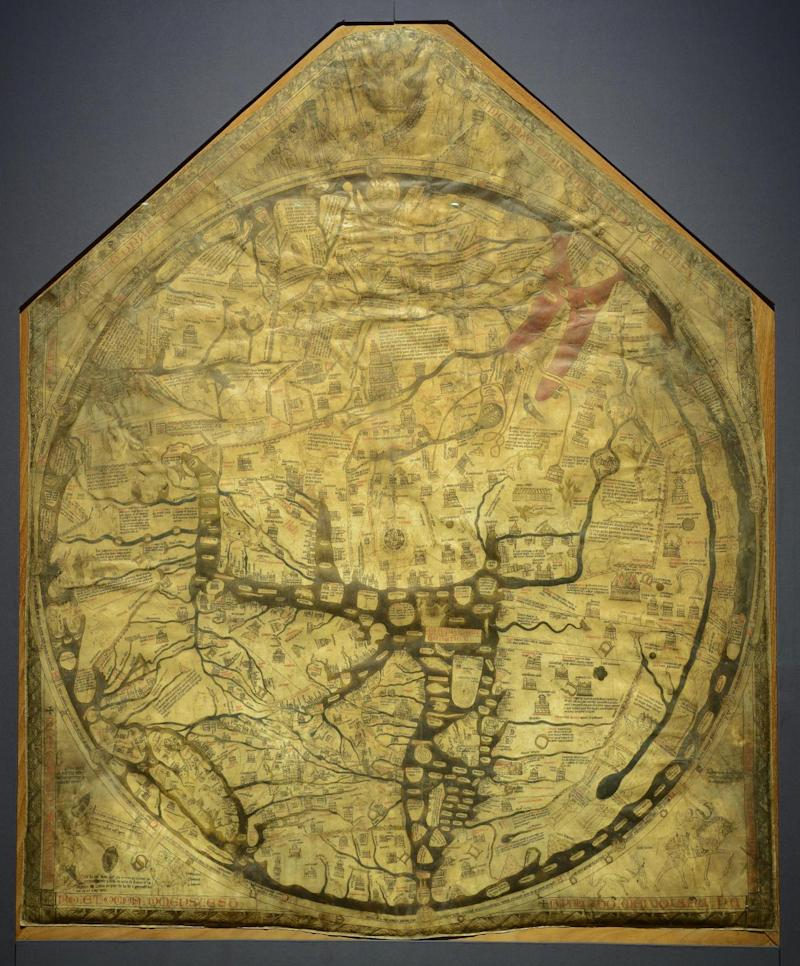 The famous Mappa Mundi is on display opposite the artwork (Hereford Cathedral)