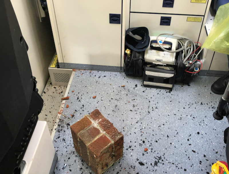 Bricks were thrown into an ambulance in one of the alleged attacks (NEAS)