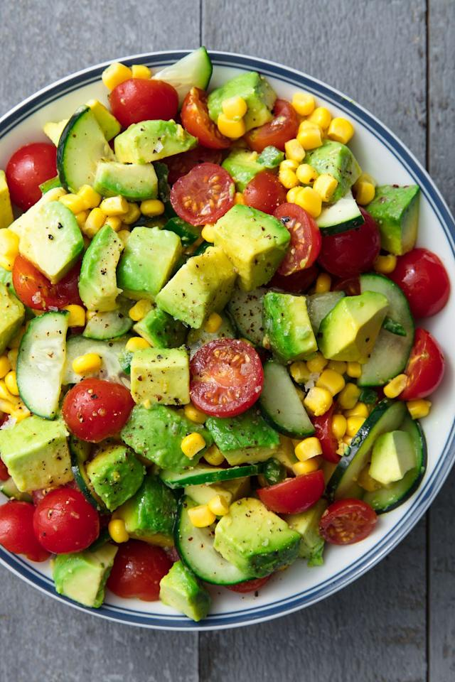 "<p>Don't confuse this with guac - there's way more depth of flavor. You are, however, totally welcome to eat it with chips. (Just know it tastes amazing with out 'em.)</p><p>Get the recipe from <a href=""https://www.delish.com/cooking/recipe-ideas/a19872947/avocado-tomato-salad-recipe/"" target=""_blank"">Delish</a>.</p>"
