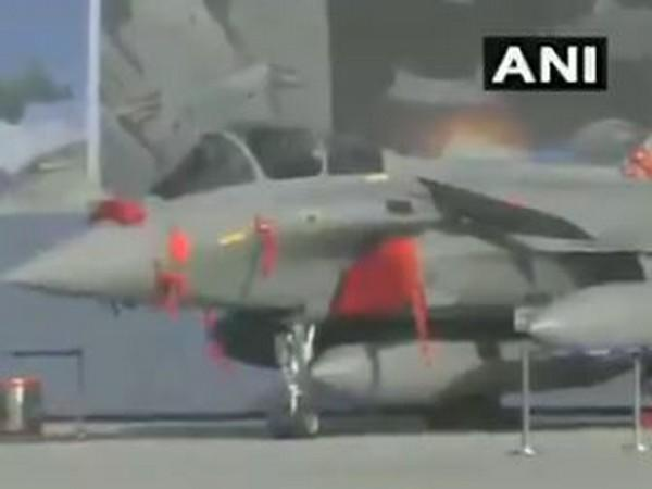 Newly inducted Rafale on display at Hindon IAF station on Tuesday. Photo/ANI