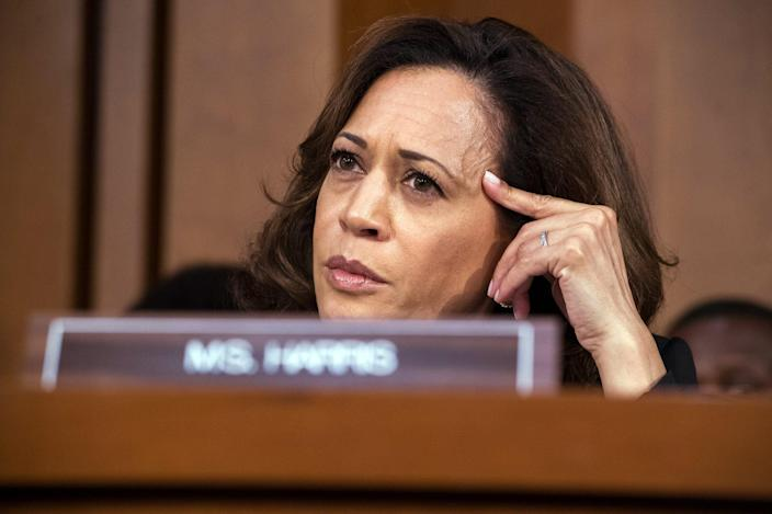 <p>In 2018, Harris attended the Senate Judiciary Committee confirmation hearing for Supreme Court nominee Brett Kavanaugh. Harris' past as a prosecutor has often shown through during her questioning in Senate hearings.</p>