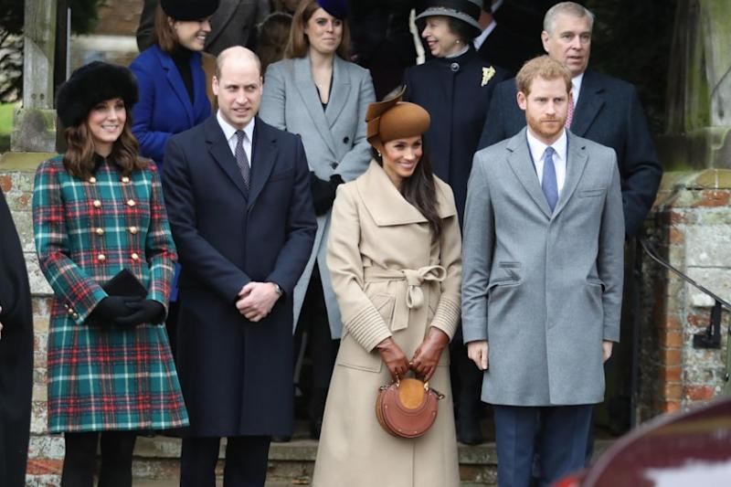 Meghan Markle was pictured on Christmas Day wearing a cute brown handbag. Photo: Getty Images