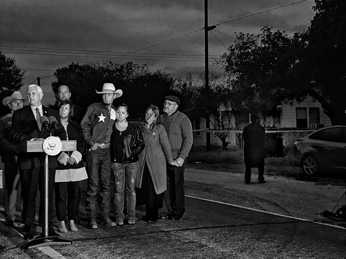 Vice President Mike Pence speaks Wednesday outside the First Baptist Church in Sutherland Springs, Texas, the site of the Nov. 5, 2017, mass shooting. He was joined by Johnnie Langendorff, fourth from right, and Sherri and Frank Pomeroy, far right, the pastors of the church. (Photo: Holly Bailey/Yahoo News)