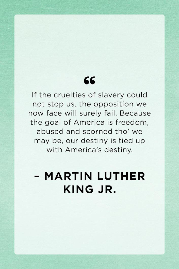 <p>Martin Luther King Jr. wrote this quote in a letter while he was confined in the Birmingham city jail on April 16, 1963. </p>