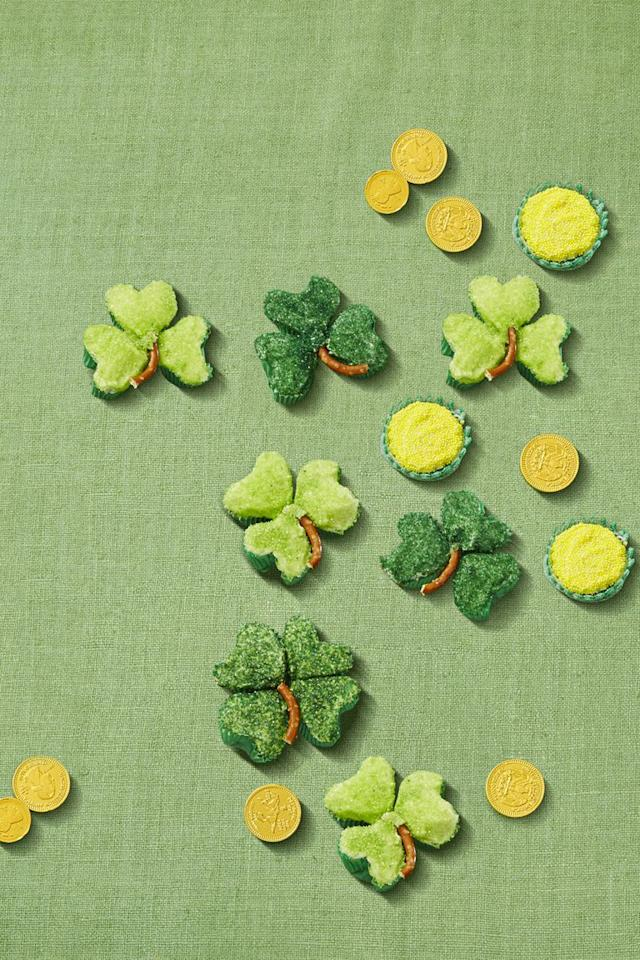 "<p>Since four-leaf clovers are hard to find, make your own luck with heart-shaped muffin pans. </p><p><a rel=""nofollow"" href=""https://www.amazon.com/Fox-Run-4493-Preferred-Non-Stick/dp/B0000DE0XI"">SHOP MUFFIN PANS</a></p><p><em><a rel=""nofollow"" href=""https://www.womansday.com/food-recipes/a57793/shamrock-clover-cupcakes/"">Get the recipe from Woman's Day »</a></em></p>"