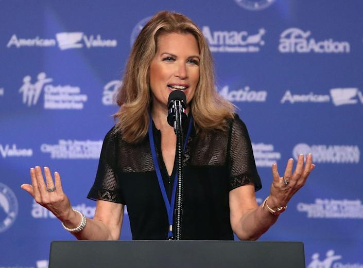 Former congresswomen and presidential candidate Michele Bachmann, R-Minn., speaks during the annual Family Research Council's Values Voter Summit in Washington, Oct. 13, 2017.