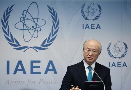 IAEA Director General Amano addresses a news conference after a board of governors meeting at the IAEA headquarters in Vienna