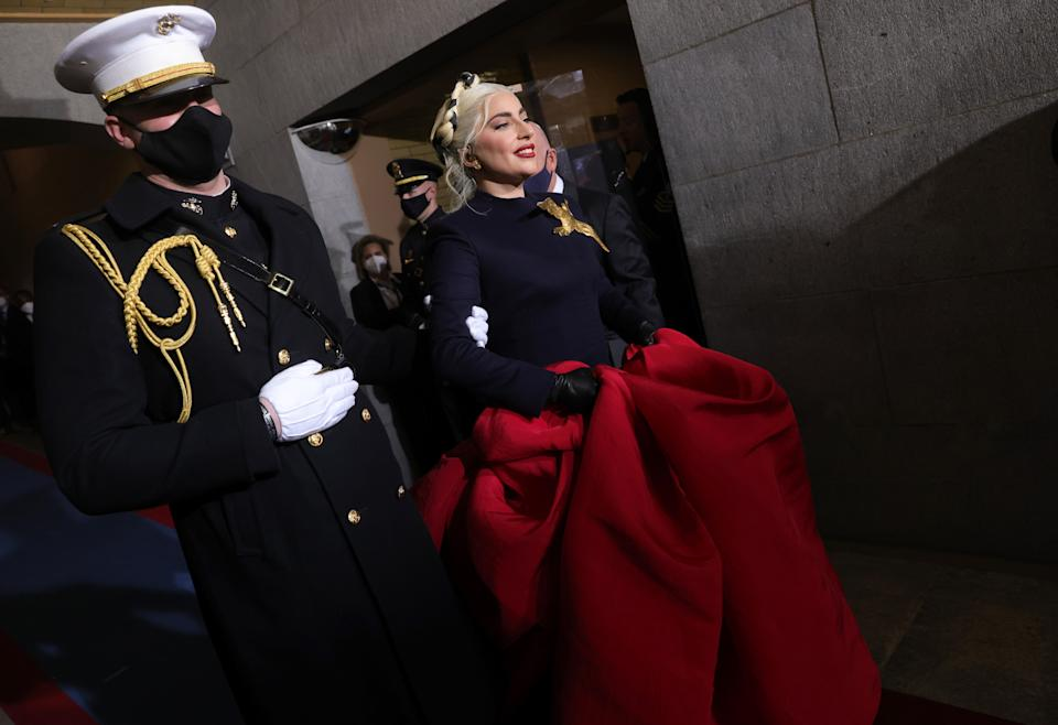 Lady Gaga arriving to sing the National Anthem at the inauguration of Joe Biden (Getty Images)