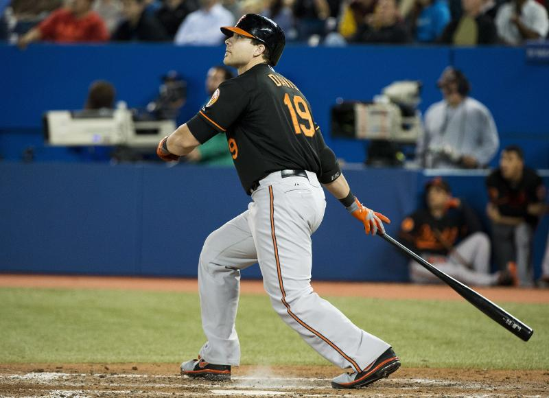 Baltimore Orioles' Chris Davis watches his solo home run against the Toronto Blue Jays during the eighth inning of a baseball game in Toronto on Friday, Sept. 13, 2013. (AP Photo/The Canadian Press, Nathan Denette)