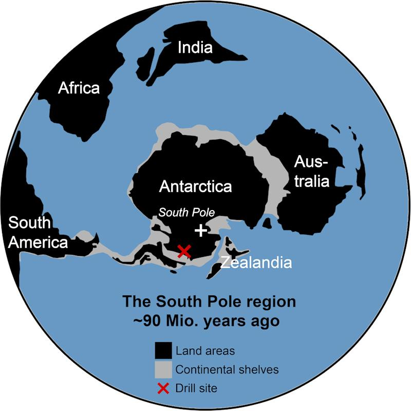 Map of the drill site and how to continents were arranged 90 million years ago