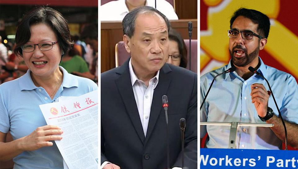 (L-R) Aljunied MPs Sylvia Lim, Low Thia Khiang and Pritam Singh. PHOTO: Yahoo News Singapore file photo