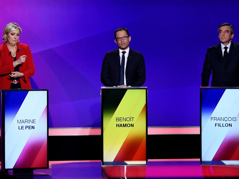 French presidential candidates Marine Le Pen, Benoit Hamon and Francois Fillon: Reuters
