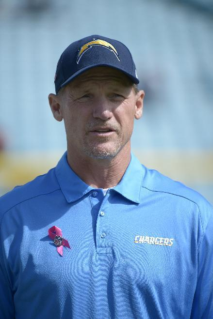 San Diego Chargers offensive coordinator Ken Whisenhunt watches warmups prior to an NFL football game against the Jacksonville Jaguars in Jacksonville, Fla., Sunday, Oct. 20, 2013. (AP Photo/Phelan M. Ebenhack)