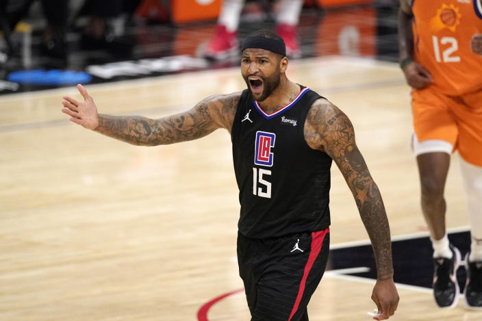 Los Angeles Clippers center DeMarcus Cousins asks for a foul call agains the Phoenix Suns during the second half in Game 6 of the NBA basketball Western Conference Finals Wednesday, June 30, 2021, in Los Angeles. (AP Photo/Mark J. Terrill)
