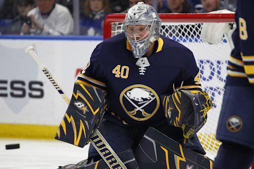 Buffalo Sabres goalie Robin Lehner (40) watches the puck during the first period of an NHL hockey game against the Toronto Maple Leafs, Thursday, March 15, 2018, in Buffalo, N.Y. (AP Photo/Jeffrey T. Barnes)