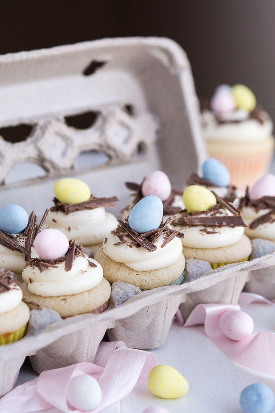 """<p>The frosting and cupcake flavors are completely up to you. Choose from vanilla, chocolate, strawberry, carrot, and more. </p><p>Get the full recipe from <a href=""""https://www.garnishandglaze.com/white-chocolate-easter-egg-cupcakes/"""" rel=""""nofollow noopener"""" target=""""_blank"""" data-ylk=""""slk:Garnish and Glaze"""" class=""""link rapid-noclick-resp"""">Garnish and Glaze</a>.</p>"""