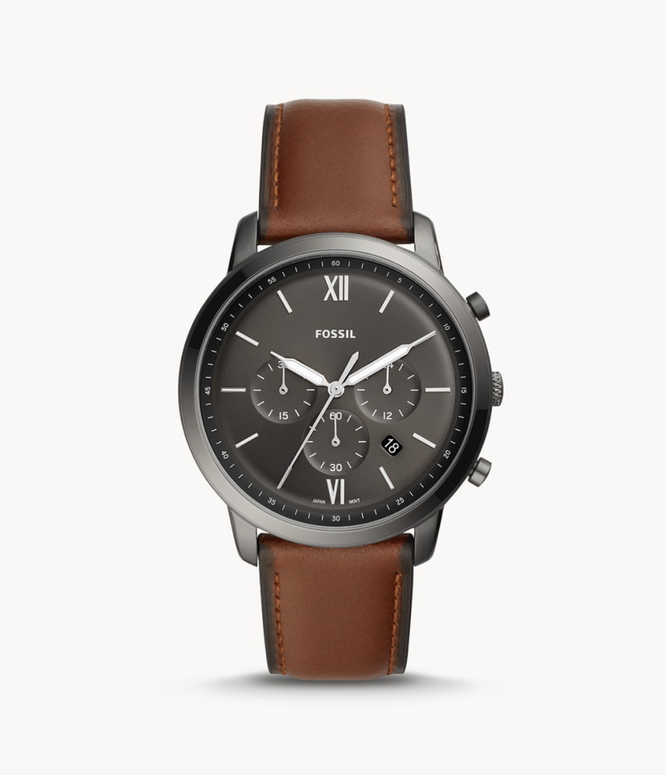men's Fossil Neutra Chronograph Amber Leather Watch with brown leather strap and black face