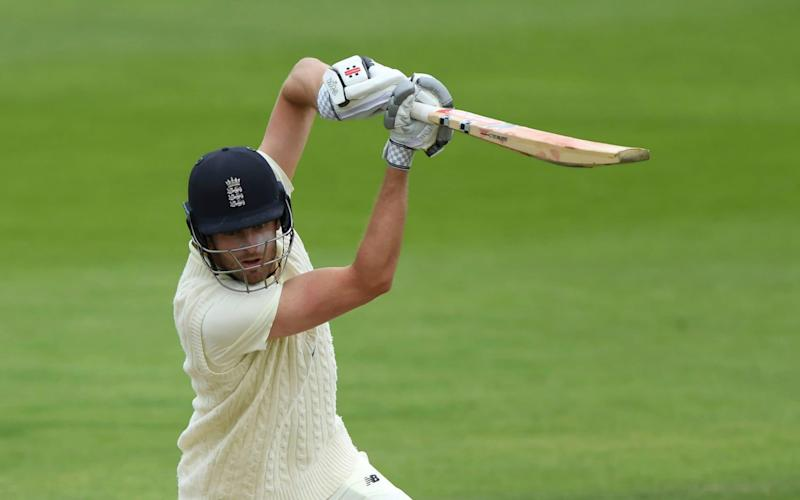 England's Dom Sibley bats during day three of a Warm Up match at the Ageas Bowl in Southampton, England, Friday July 3, 2020. - Stu Forster/Agency Pool via AP