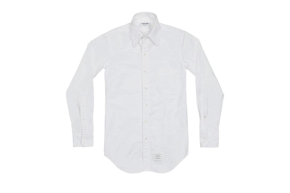 """<p>No button-down shirt works harder than a white Oxford. And a truly great one, like Thom Browne's now-iconic take on the staple, only gets better with each wear as the sturdy cotton begins to break down and soften.</p> <p><em>Thom Browne Oxford shirt</em></p> $330, Thom Browne. <a href=""""https://www.thombrowne.com/us/shopping/classic-oxford-shirt-11369206"""" rel=""""nofollow noopener"""" target=""""_blank"""" data-ylk=""""slk:Get it now!"""" class=""""link rapid-noclick-resp"""">Get it now!</a>"""