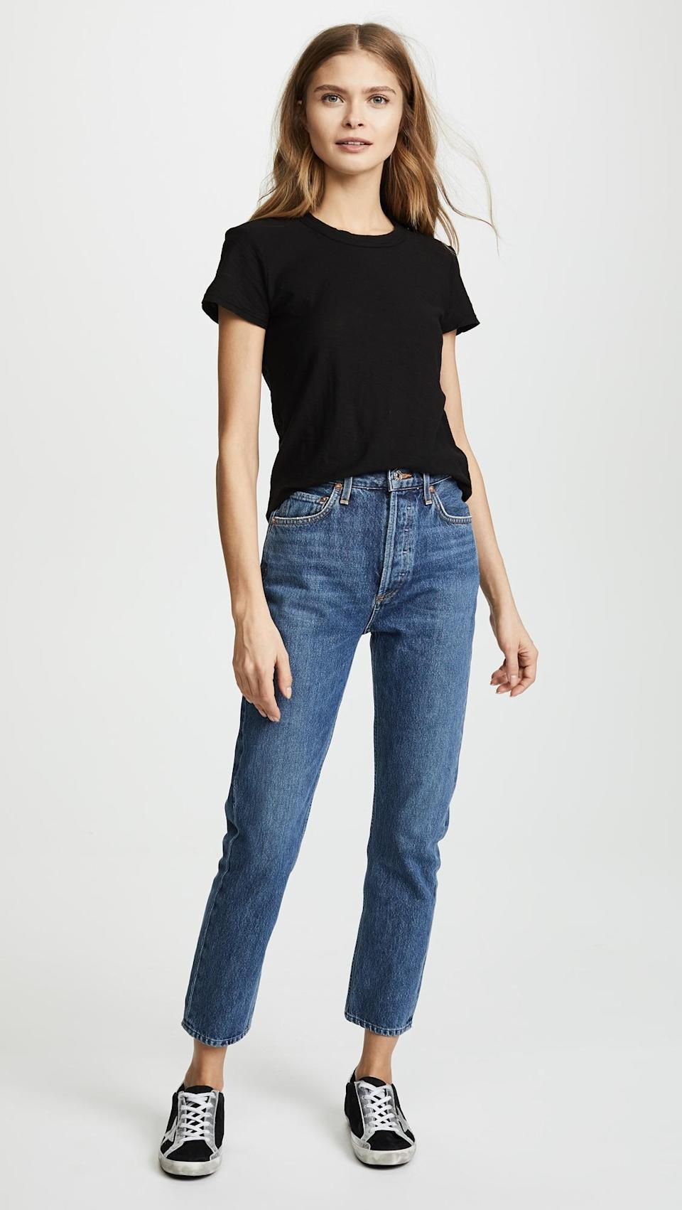 """<strong>The Semi-Sheer Tee</strong><br><br>Ideal for your off-duty life, this loose, semi-sheer T-shirt features a relaxed hem that's a hit amongst reviewers.<br><br><strong>The Hype:</strong> 4 out of 5 stars on Shopbop<br><br><strong>What They're Saying:</strong> """"I have every color (almost) in these tops. They are lightweight and go with everything. Perfect for wearing alone or layering. A little pricey but worth it."""" - StacLynn, Shopbop Review<br><br><strong>James Perse</strong> Sheer Slub Crew Neck Tee, $, available at <a href=""""https://go.skimresources.com/?id=30283X879131&url=https%3A%2F%2Fwww.shopbop.com%2Fsheer-slub-crew-neck-tee%2Fvp%2Fv%3D1%2F1590711076.htm"""" rel=""""nofollow noopener"""" target=""""_blank"""" data-ylk=""""slk:Shopbop"""" class=""""link rapid-noclick-resp"""">Shopbop</a>"""