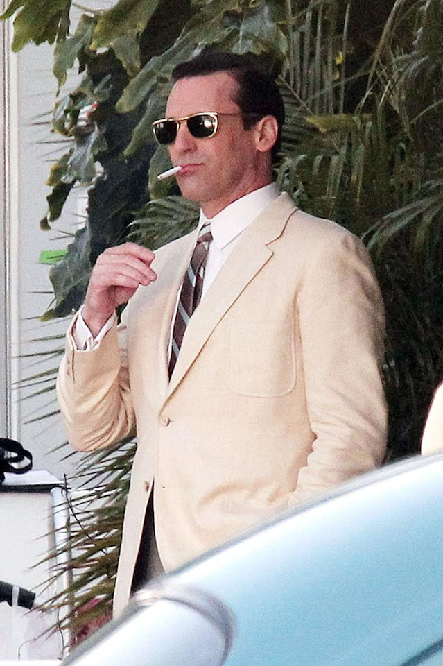 Tuesday March 5, 2013. Jon Hamm, John Slattery and Rich Sommer film a scene for their hit TV show 'Mad Men' in Los Angeles. The trio can be seen riding around in a red, vintage Mustang Convertible as they filmed scenes for an upcoming episode.