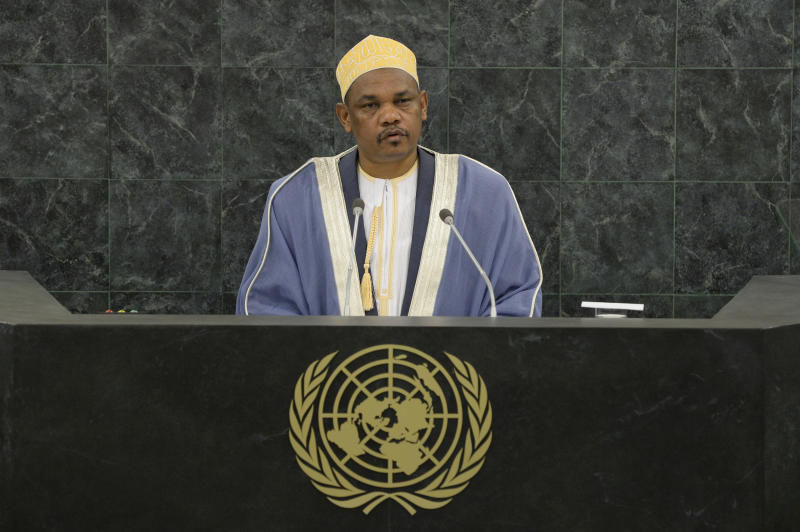 Comoros President Ikililou Dhoinine speaks at the 68th UN General Assembly on September 25, 2013, in New York