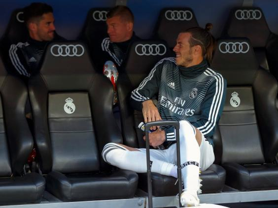 Gareth Bale was seen laughing while Real Madrid suffered a 2-0 defeat against Real Betis (EPA)