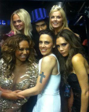 Russell Brand with the Spice Girls at the London Olympics closing ceremony. Credit: Twitter