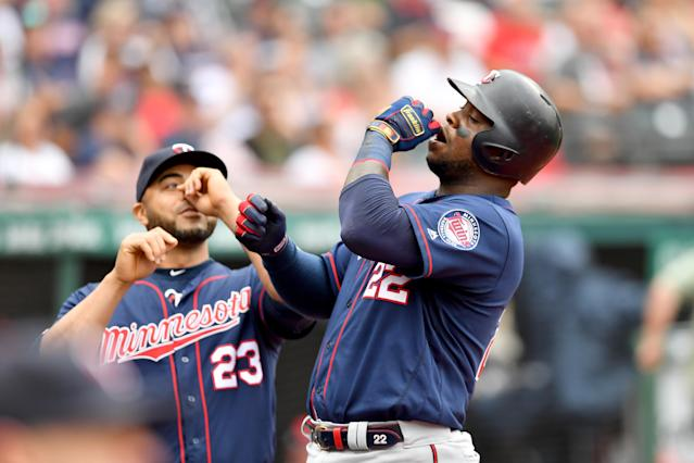 Nelson Cruz, Miguel Sano and the Twins have reason to celebrate after winning a weekend series against the Indians. (Photo by Jason Miller/Getty Images)