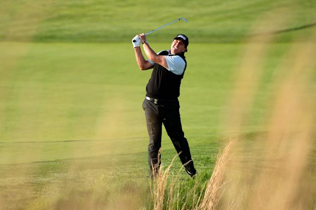 "<div class=""caption""> Phil Mickelson second shot on 18 during the first round of the 2019 PGA Championship. </div> <cite class=""credit"">J.D. Cuban</cite>"